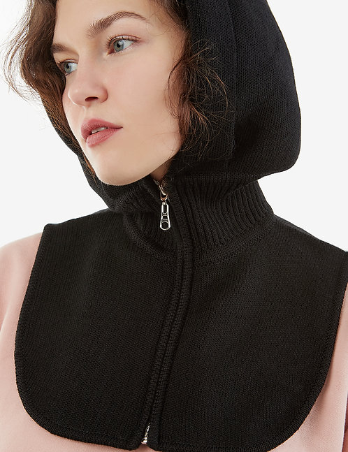 Knitted Hooded Scarf with mock collar