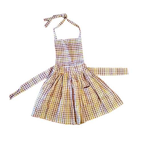 Fall Gingham Kids Pleated Apron (Medium 3-5y)