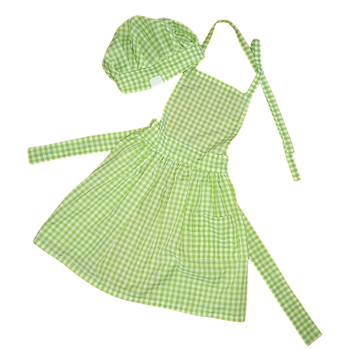 Pleated Apron and Chef Hat Set