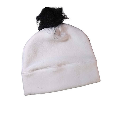 White & Black Fleece Hat with Fur
