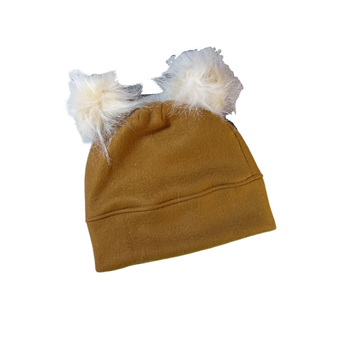 Brown & Cream Fleece Hat with Double Fur Pompoms