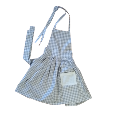 Gray Gingham Kids Pleated Apron (Large 5-8y)