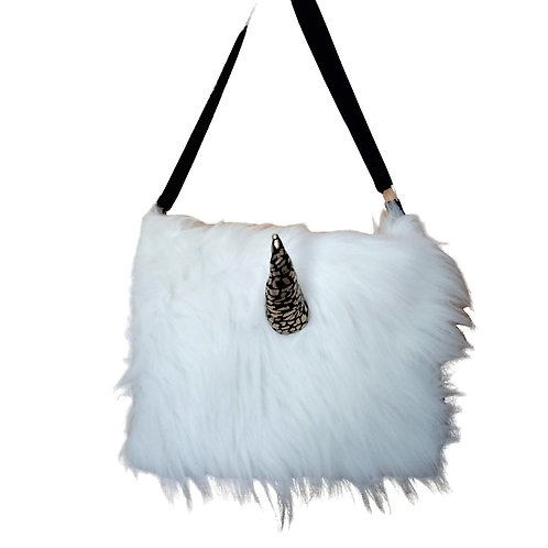 White Unicorn Monster Fur Messenger Bag