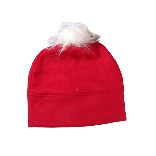 Red & White Fleece Hat with Fur