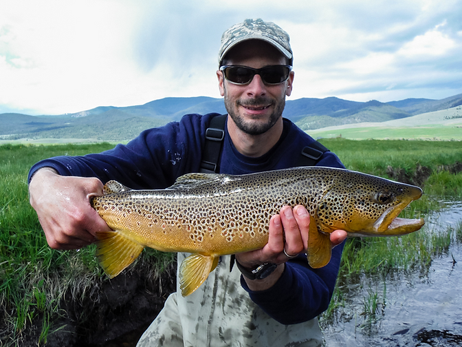 Zach with brown trout