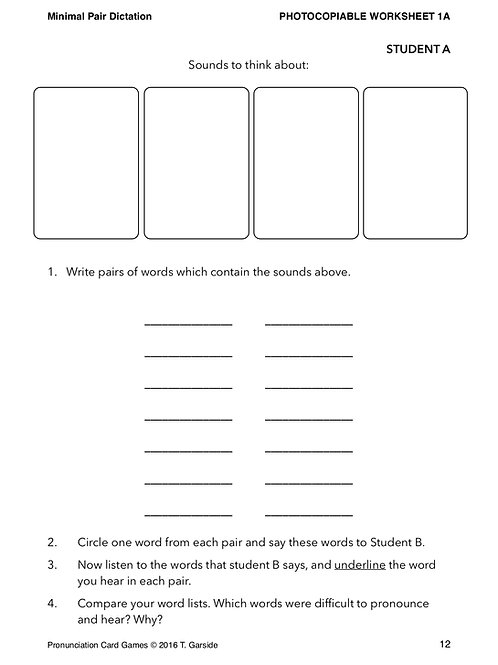 Minimal Pair dictation workheet
