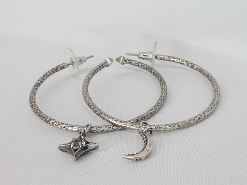 Star & Moon Charm Earrings (Vintage Silver)