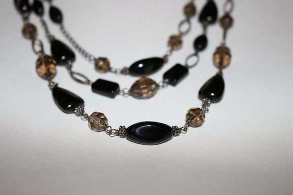 Onyx & Silver Cocktail Necklace