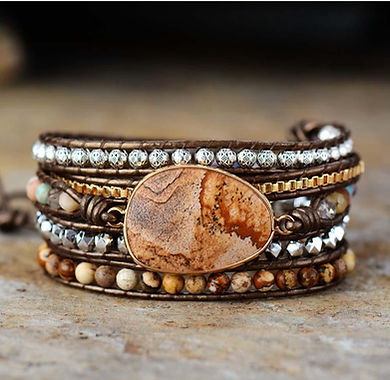 Earth Tone Leather/Gemstone Bracelet