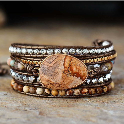 Earth Tone Leather/Gemstone Bracelet