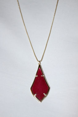 Kendra Scott Necklace - Olivia Long Gold Pendant -Ruby Red Glass