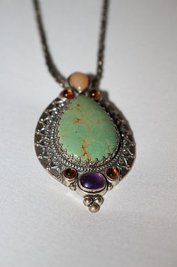 Antique Stone Silver Necklace