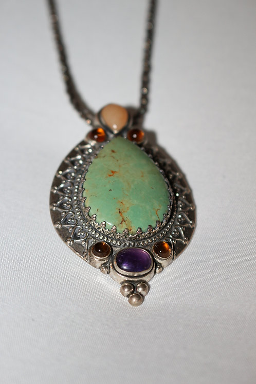 Antique Stone Silver Necklace