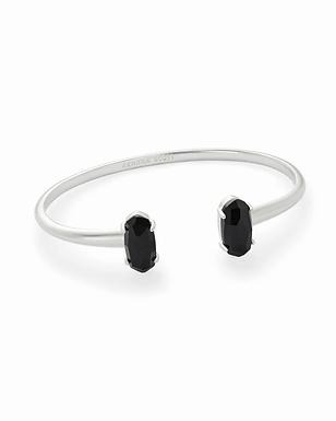 Silver Cuff Bracelet w/ Black Opaque Glass