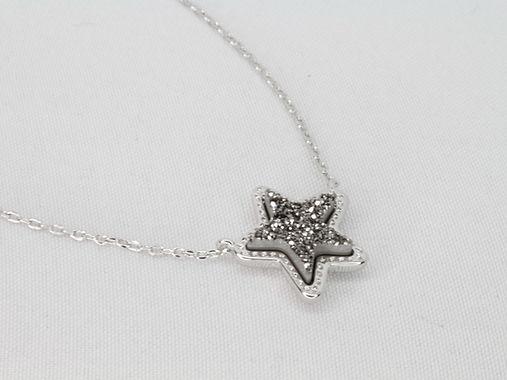 Star Pendant Necklace in Platinum Drusy