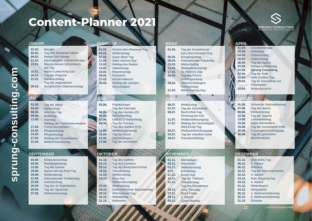 Content-Kalender 2021 mit einem monatlichen Überblick der wichtigsten Ferien-, Aktions- und internationalen Funtage.