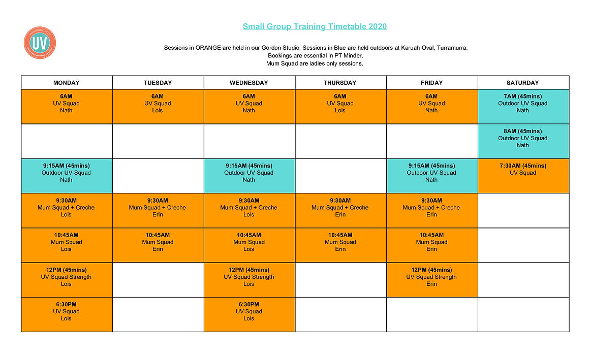_Small Group Training Timetable 2020 (11