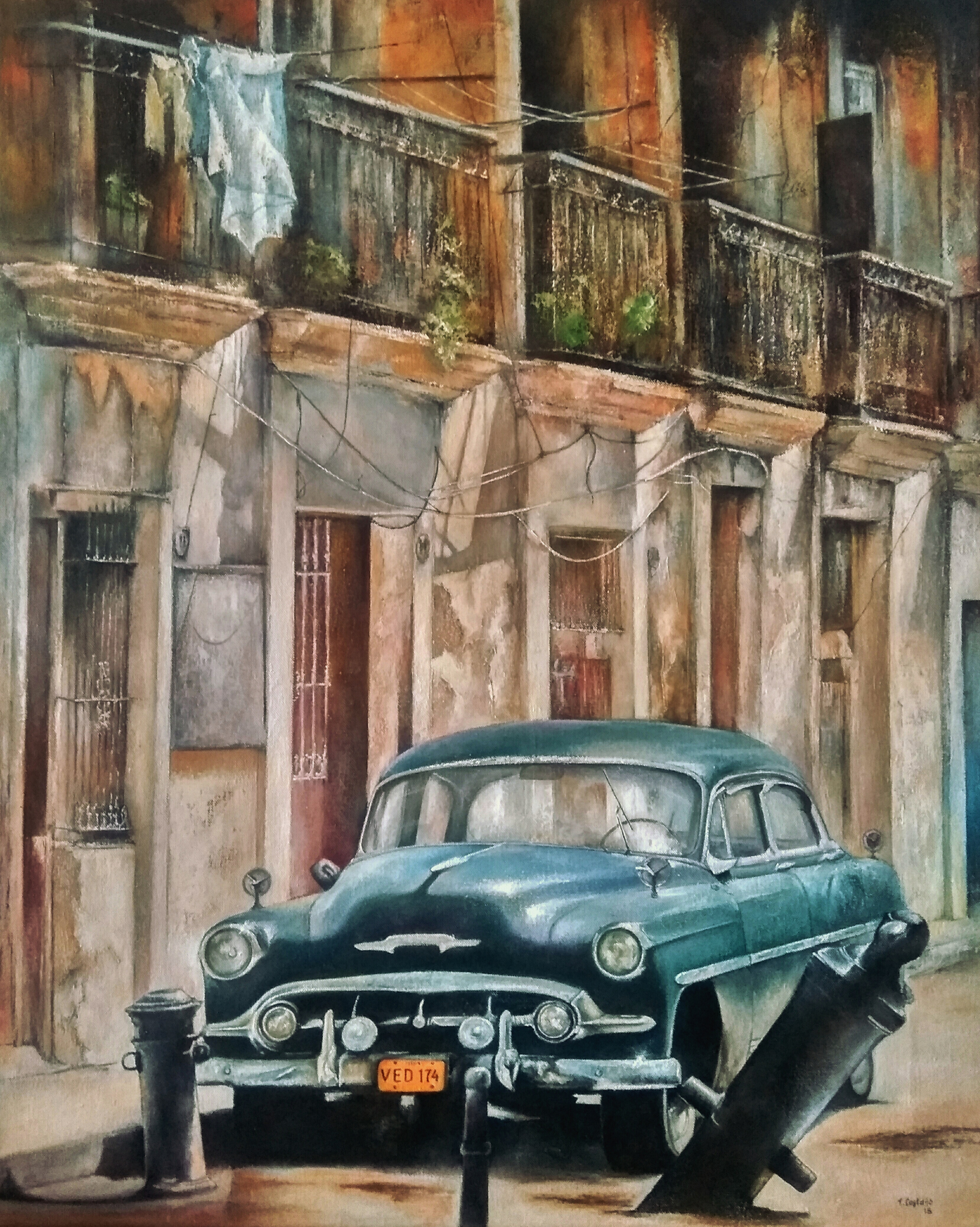 Old Havana Blue Car - Tomas Castano