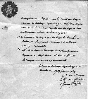 Afstadsverklaring getekend in 1939.