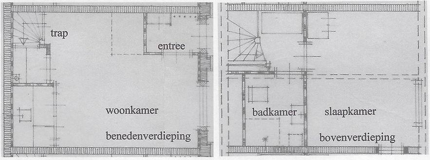 Voorbeeld van een huisje, diep 5,6 m totaal, breed 4.0 m totaal. Bovenverdieping met slaapkamer 3,8,x 4 m.; badkamer met douche en wc; overloop met plaats voor een wasmachine. Benedenverdieping met entree halletje; woonkamer, keuken en spiltrap.