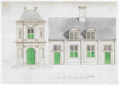 Arent van 's-Gravesande, ontwerp van het (niet uitgevoerde) poortgebouw en de huisjes van het Eva van Hoogeveenhof, gewassen tekening.