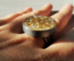 handmade, silver, moon ring, with gold, pearls, resin.