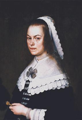 Portret van Eva van Hoogeveen op vijftigjarige leeftijd, door Joris van Schooten, 1646.