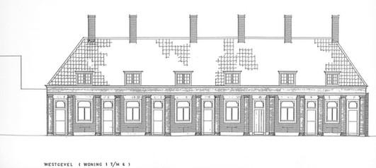 Westgevel nummer 1 t/m 6. (Bruins Soedjono Architecten BV)