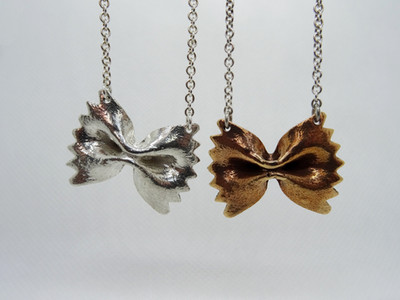 silver & bronze pasta farfalle pendant on a silver necklace