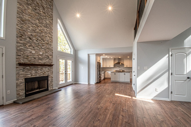 Living area into kitchen