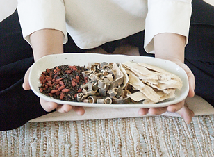 Hands offering a ceramic platter with goji berries, he shou wu, mimosa bark, and astragalus root.