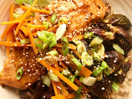 Tamari Maple Salmon and Brussel Sprouts Bowls