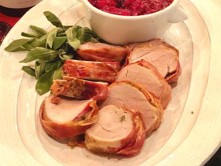 Prosciutto Wrapped Pork Tenderloin with Apple Cranberry Compote