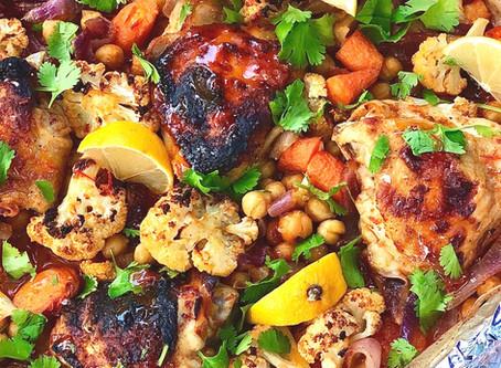 Harissa Honey Chicken with Chickpeas and Cauliflower