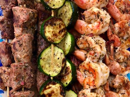 Shrimp and Beef Souvlaki with Tzatziki Sauce
