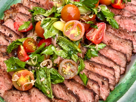 Coffee Rubbed Steaks with Herby Tomato Salad