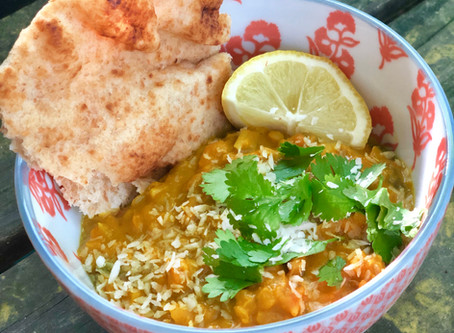Red Lentil Dal with Coconut and Sweet Potatoes