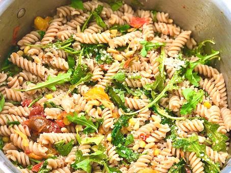 Fusilli with Tomato Confit, Corn, and Arugula