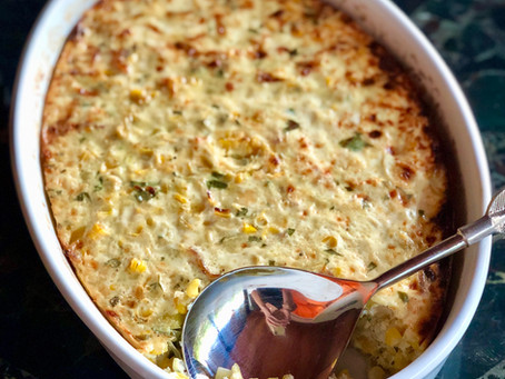 Corn Pudding with Leeks and Bacon