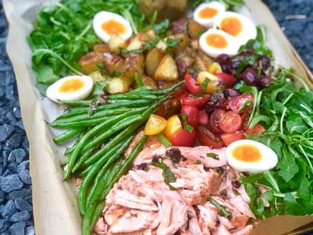 Sheet Pan Salmon Nicoise