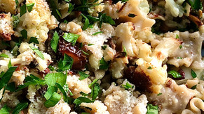 Pasta with Roasted Cauliflower, Fried Capers and Dates