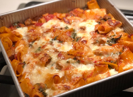 Baked Rigatoni alla Vodka with Sausage and Kale