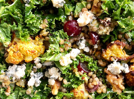 Curried Kale, Lentil & Cauliflower Salad