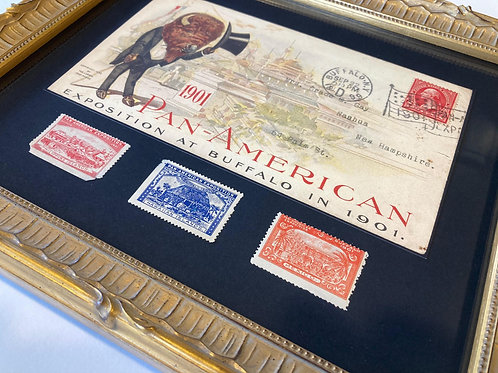 Buffalo 1901 Pan Am Expo: Framed Reproduction Postcard with Original Stamps