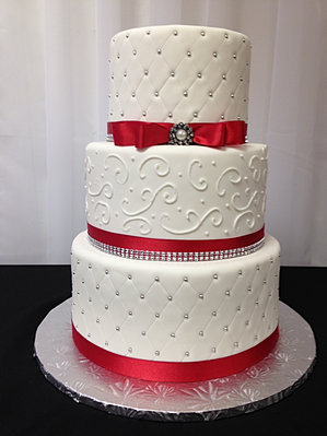Red Quilted Wedding Cake
