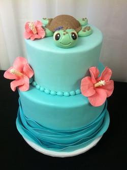 Sea turtle baby shower cake