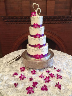 Silver Orchid Wedding Cake