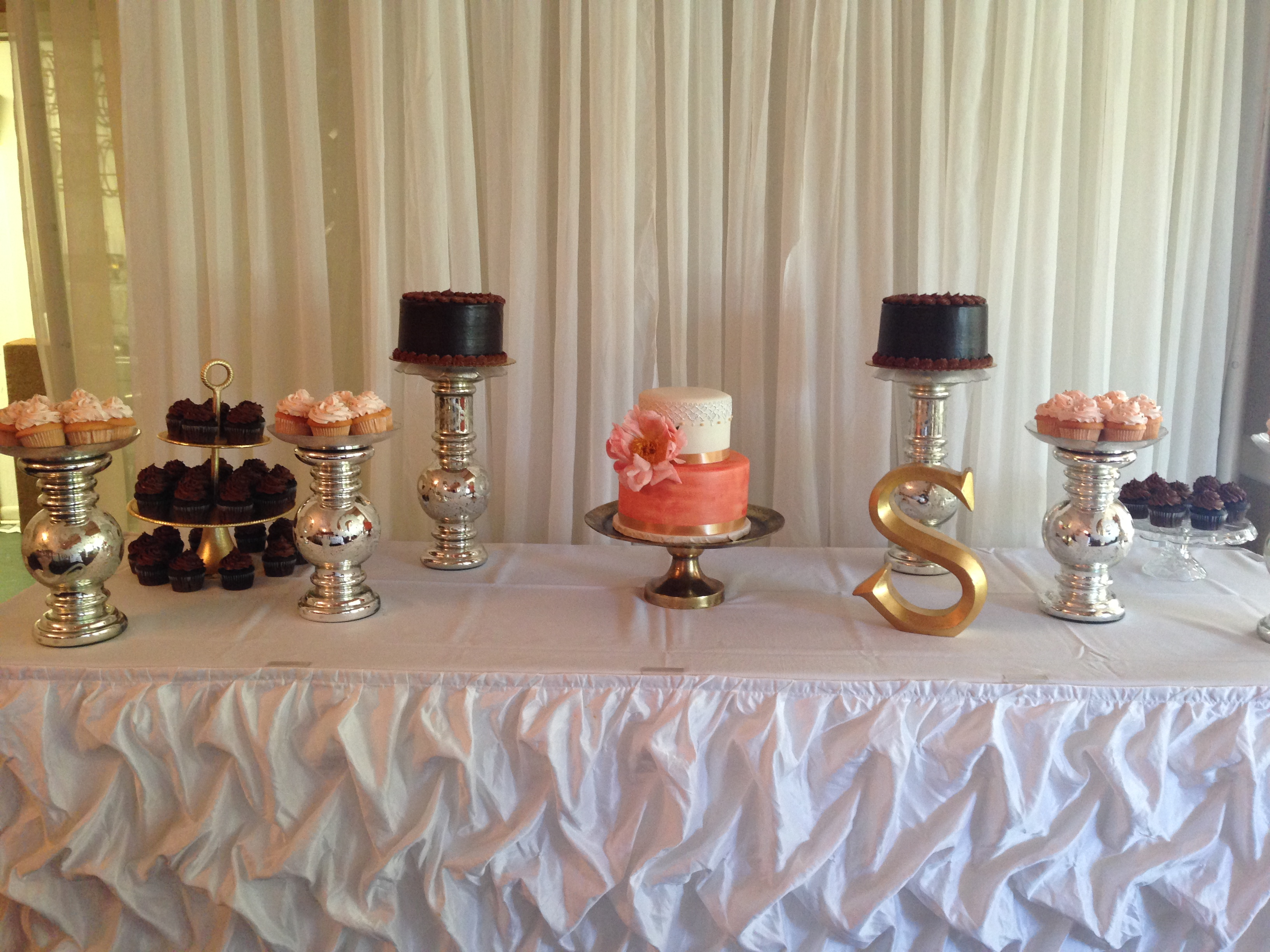 Coral and Gold Dessert Table