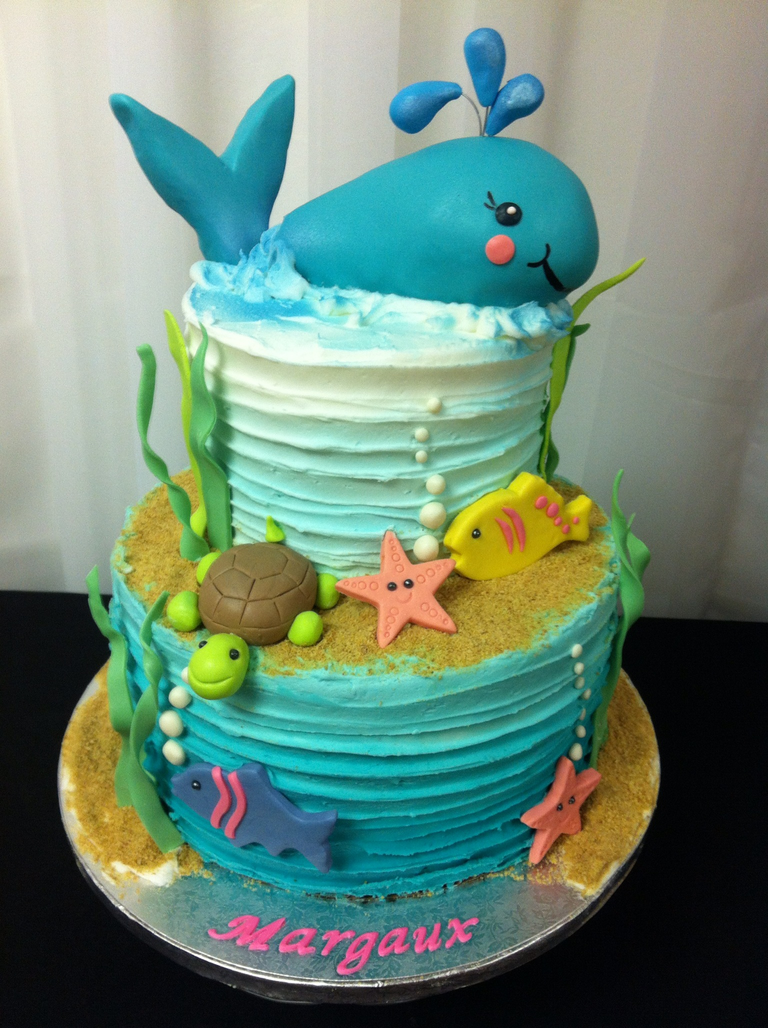 Happy bday Margaux ocean-themed cake
