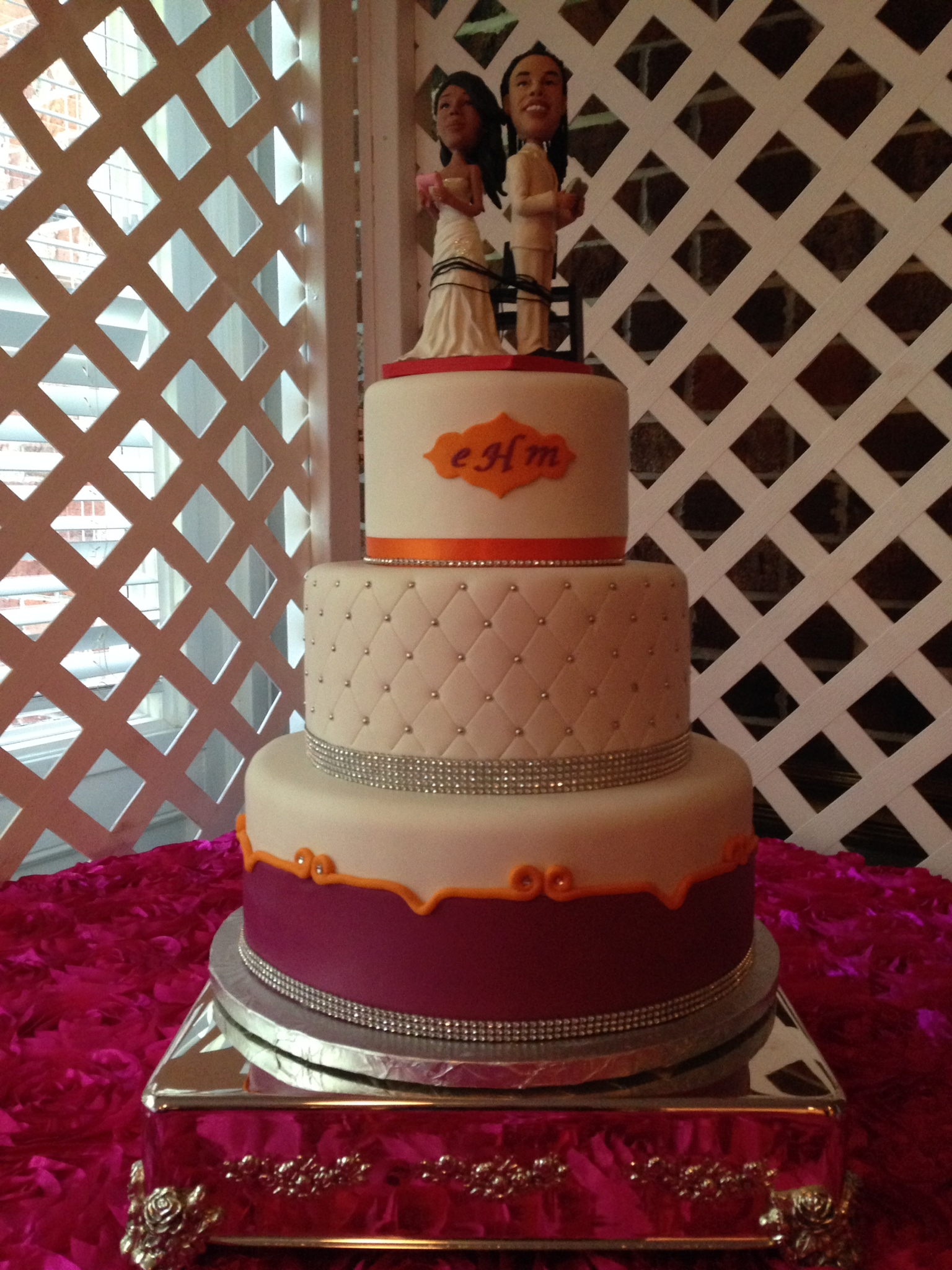 fuscia and orange wedding
